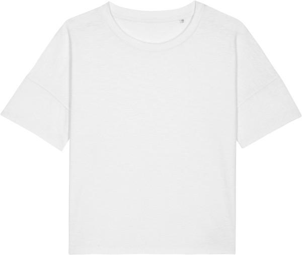 Weites Slub T-Shirt aus schwerem Stoff aus Bio-Baumwolle - white