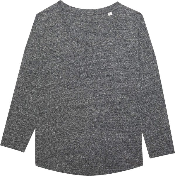 3/4-Arm-Shirt aus Bio-Baumwolle - slub heather steel grey
