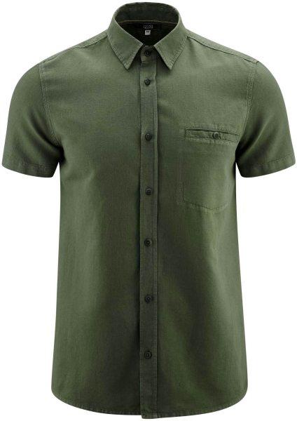 Kurzarm-Hemd aus Bio-Leinen und Bio-Baumwolle - olive