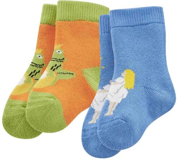 Baby Socken aus Bio-Baumwolle - 2er-Pack – pumpkin/cobalt