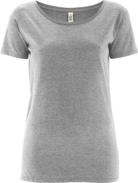 Open Neck T-Shirt - Biobaumwolle - melange grey