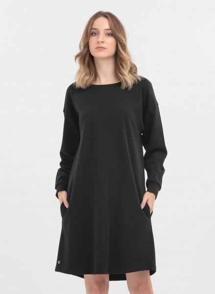 Sweatshirt-Kleid aus Bio-Baumwolle - black
