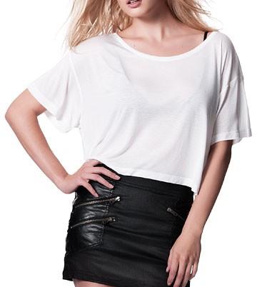 Oversized Cropped Top T-Shirt weiss - Bild 1