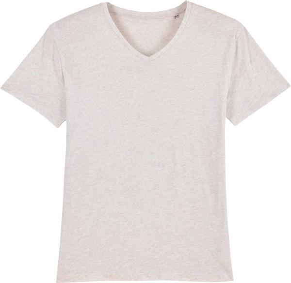 T-Shirt mit V-Ausschnitt aus Bio-Baumwolle - cream heather grey