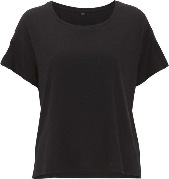 Ecovero Boxy T-Shirt aus Viskose und Bio-Baumwolle - black