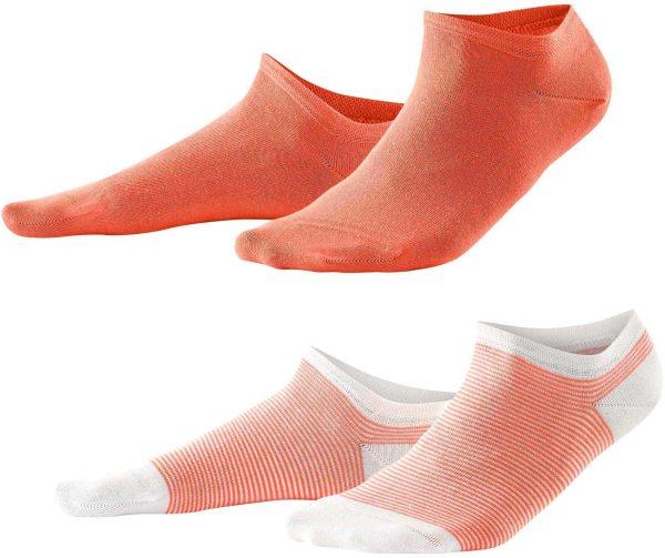 Damen Sneaker-Socken aus Bio-Baumwolle - 2er-Pack - coral/white