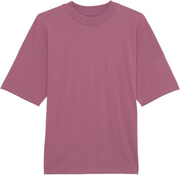 Oversized T-Shirt mit breitem Kragen aus Bio-Baumwolle - mauve