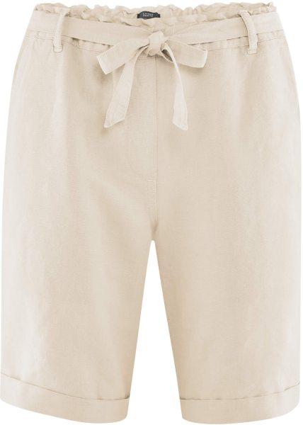 Bermuda-Shorts aus Bio-Leinen und Bio-Baumwolle - sand