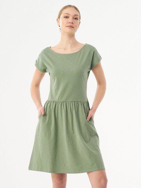 Kurzarm-Kleid aus Bio-Baumwolle - fern green