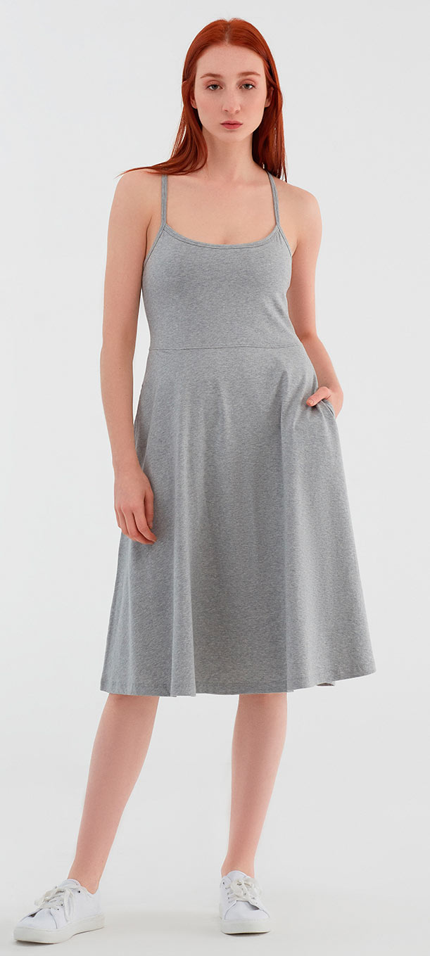 Spaghettiträger-Kleid aus Bio-Baumwolle - grau-melange