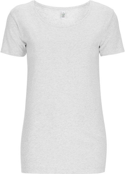 Open Neck T-Shirt - Biobaumwolle - melange white - Bild 1