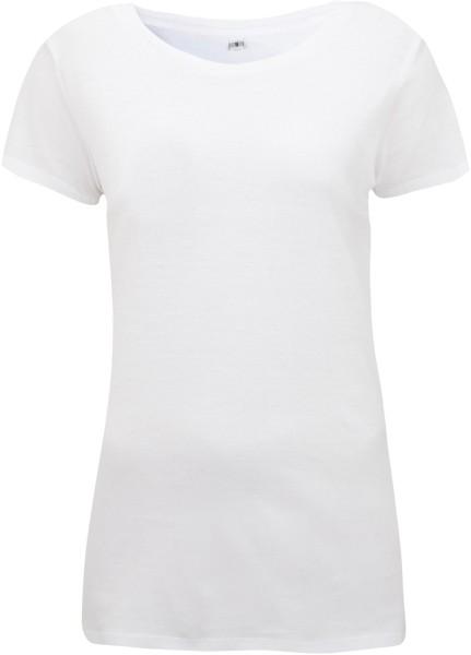 Regular Fit T-Shirt mit weitem Halsausschnitt weiss