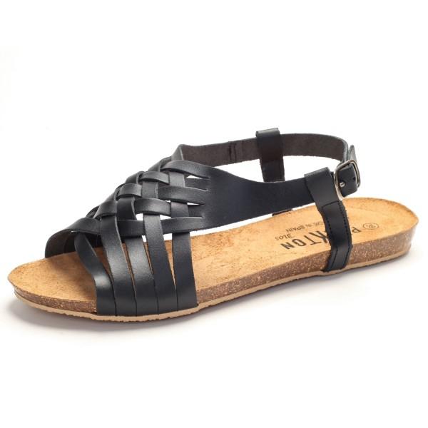 Sandalette mit Flechtung schwarz Leder