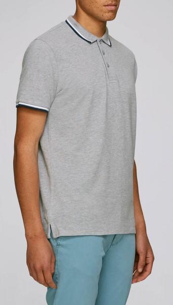 Competes Tipped - Poloshirt aus Bio-Baumwolle - grau meliert - Bild 1