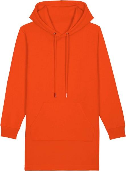 Sweatshirt-Kleid mit Kapuze aus Bio-Baumwolle - tangerine