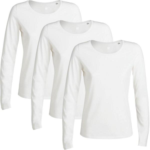 Sparpack Damen Langarm-Shirt aus fair gehandelter Biobaumwolle, weiss