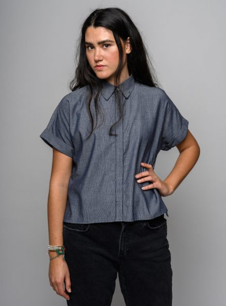 Fairtrade Bluse Nilay aus Bio-Baumwolle - chambray