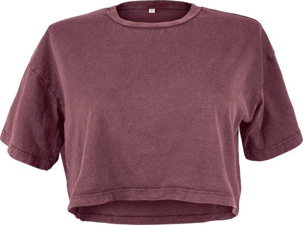 Cropped T-Shirt aus Biobaumwolle - stone burgundy