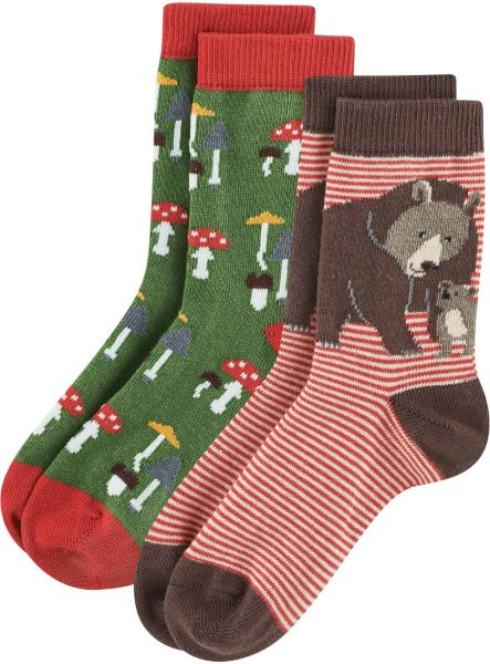 Kinder Socken aus Bio-Baumwolle - 2er-Pack - red/green