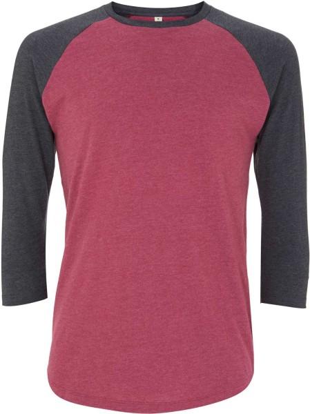 Recycled Unisex Baseball Shirt aus Baumwolle und Polyester plum