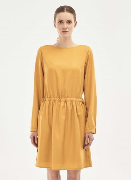 Langarm-Kleid aus Tencel - honey