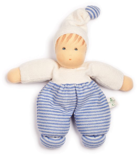 Möpschen Puppe aus Bio-Baumwolle - hellblau gestreift - Bild 1