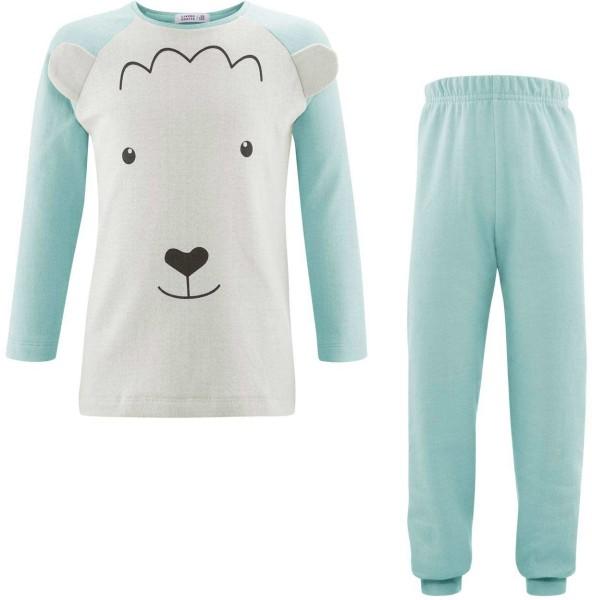 Kinder Schlafanzug aus Bio-Baumwolle - natural/dusty aqua