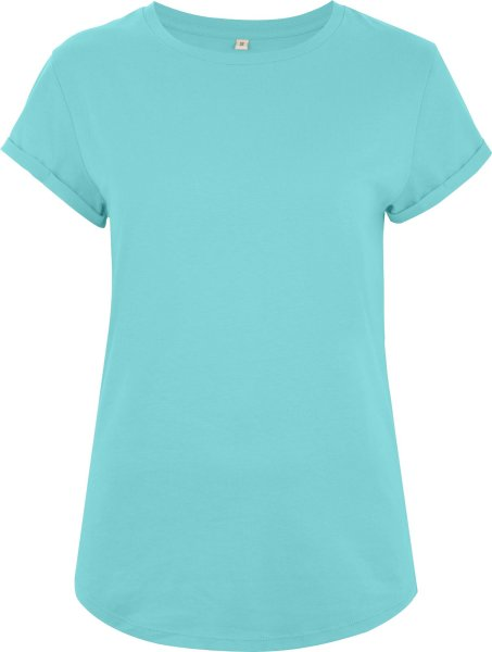 Organic Rolled Sleeve T-Shirt - turquoise blue