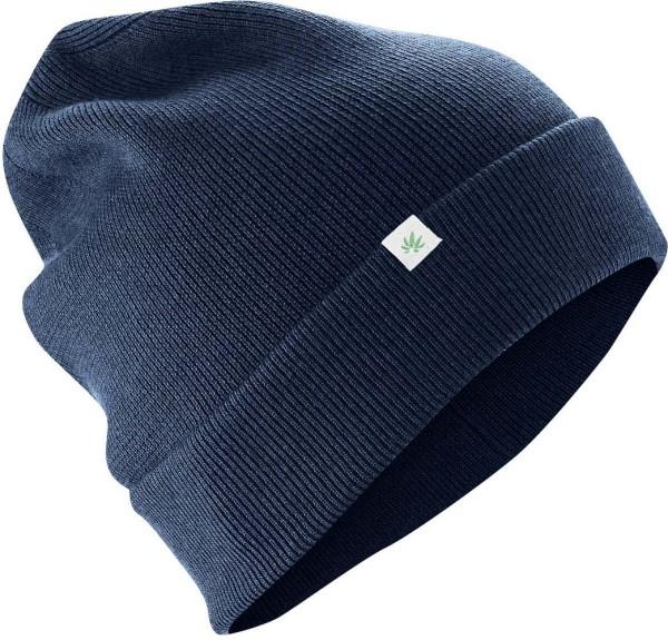 Wintermütze aus Wolle, Bio-Baumwolle und Hanf - navy