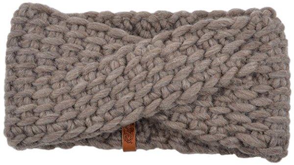 Strick-Stirnband aus Schurwolle - taupe