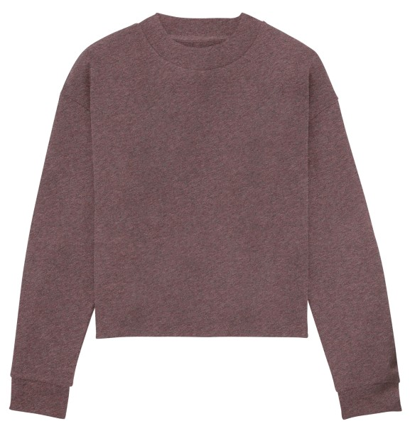 Kurzes Sweatshirt Bio-Baumwolle black heather cranberry