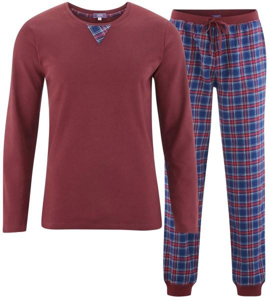 Flanell-Schlafanzug aus Bio-Baumwolle – tartan blue