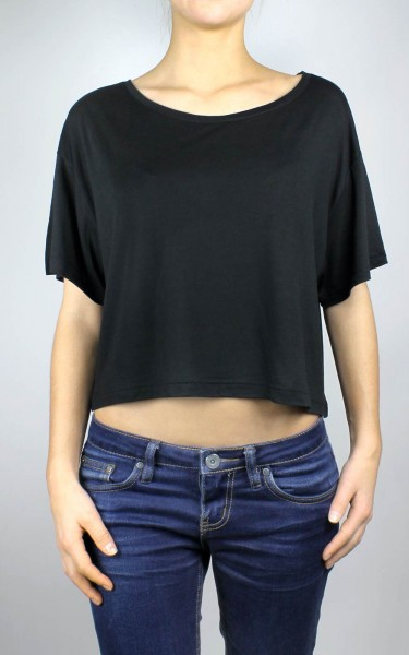 Oversized Cropped Top T-Shirt schwarz - Bild 1