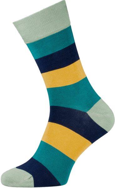 Strümpfe aus Bio-Baumwolle - gestreift - dunkelblau/petrol/gelb
