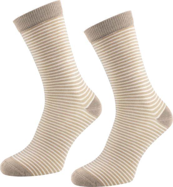 Socken aus Bio-Baumwolle geringelt - 2er Pack - braun-natur