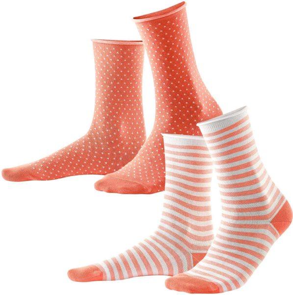 Damen Socken aus Bio-Baumwolle - 2er-Pack - coral/white