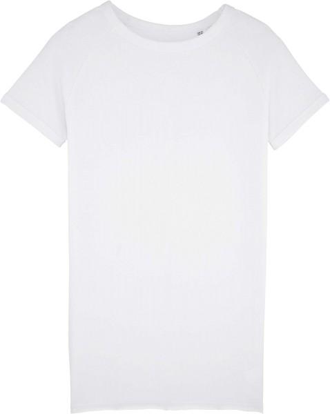 Kurzarm-Sweatshirt-Kleid aus Bio-Baumwolle - white