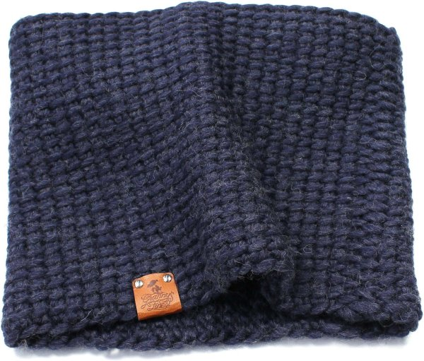 Strick-Schlauchschal aus Schurwolle - dunkelblau