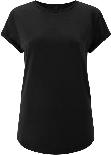 Organic Rolled Sleeve T-Shirt - black