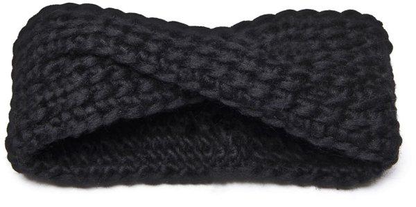 Strick-Stirnband aus Schurwolle - schwarz
