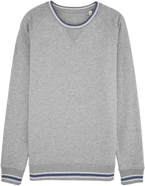 Sweatshirt mit Kontrastbündchen aus Bio-Baumwolle - grau meliert