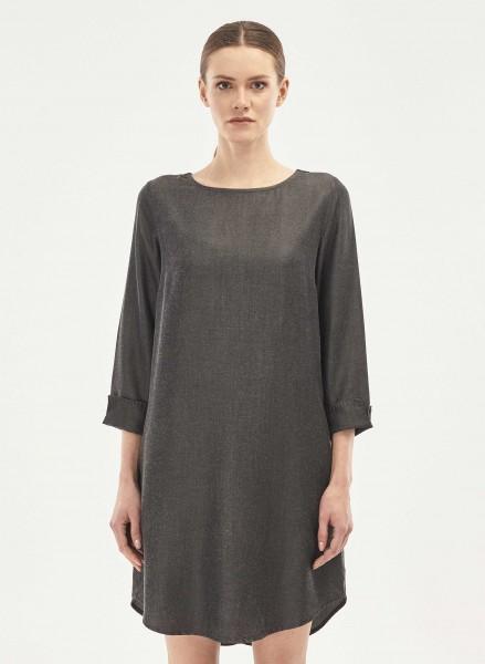 Kleid mit 3/4 Arm aus Tencel - black denim