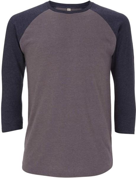 Recycled Unisex Baseball Shirt aus Baumwolle und Polyester - melange heather / melange navy