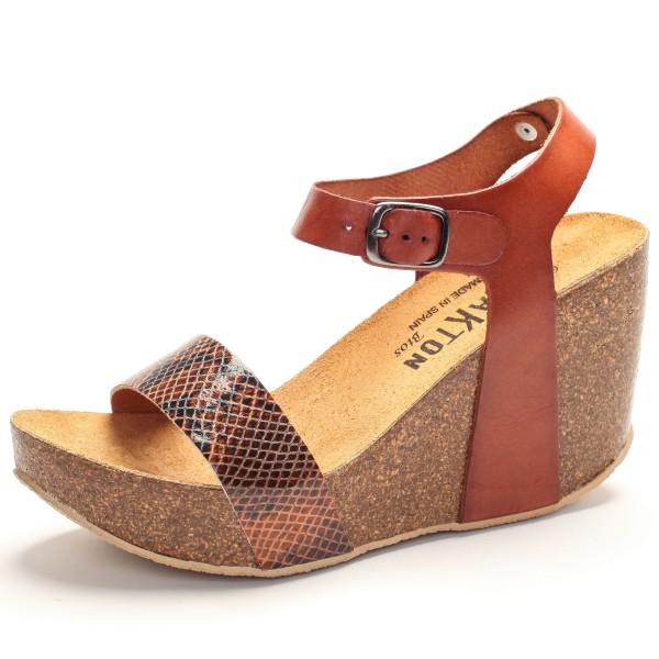 Sandalette mit Keilabsatz - fakir vaqueta - cuero