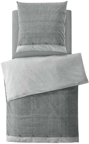 Flanell-Bettwäsche-Set aus Bio-Baumwolle 135x200cm - grey bicolour