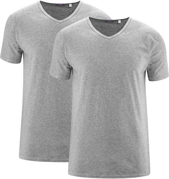 V-Neck T-Shirts grau meliert Doppelpack Biobaumwolle