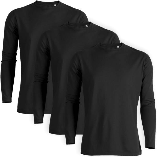 Shuffles - Langarmshirt Bio-Baumwolle - schwarz 3er-Pack