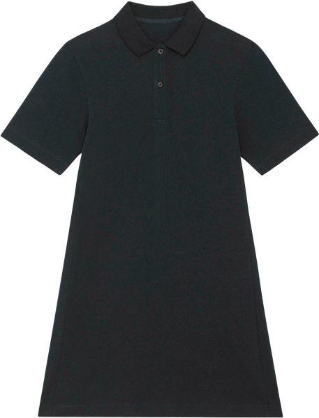 Piqué-Polokleid aus Bio-Baumwolle - black
