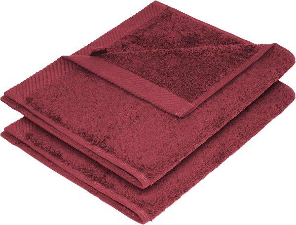 Flauschiges Handtuch aus Bio-Baumwolle 2er-Pack - 30x50 bordeaux - Bild 1
