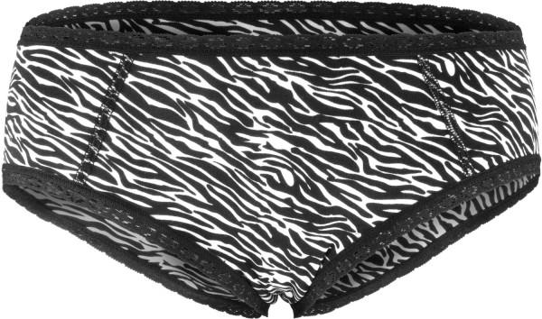 Hipster mit Spitze aus Bio-Baumwolle - schwarz-weiss gemustert